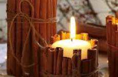 Декоративные свечи с корицей.
