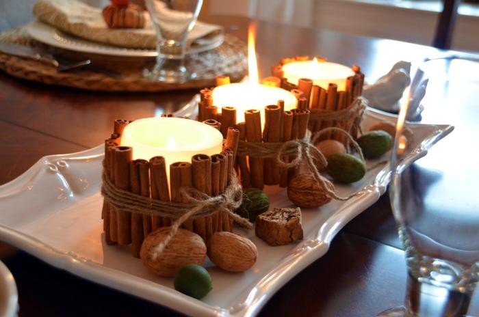 декоративные свечи с корицей