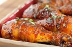 Курица с медом и горчицей, самый простой рецепт.