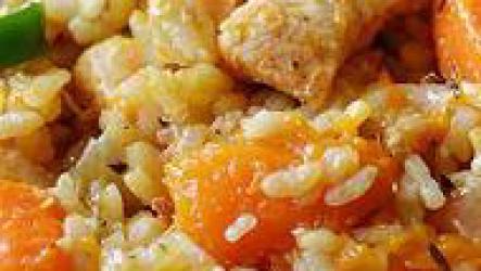 Курица с тыквой, аппетитно, ярко и полезно.