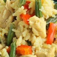 Курица по тайски с рисом и овощами