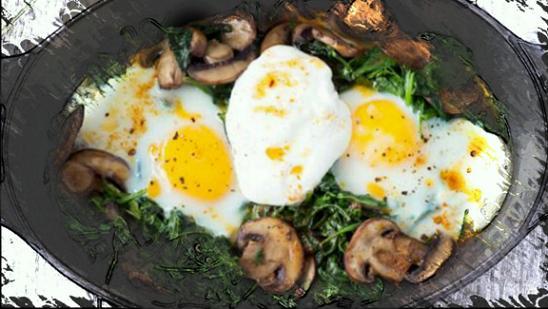 яйца с грибами