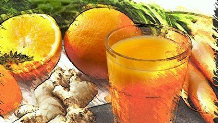 Апельсин с имбирем напиток для здоровья.